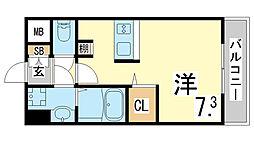 JR東海道・山陽本線 新長田駅 徒歩3分の賃貸マンション 6階ワンルームの間取り