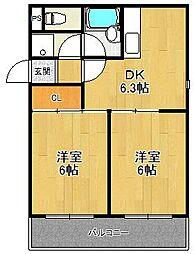 ロイヤルメゾン甲子園口3[2階]の間取り