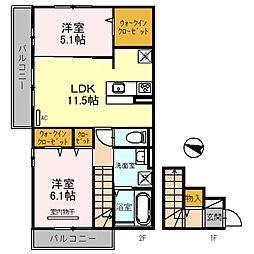 D-room大阪狭山市半田三丁目 2階2LDKの間取り