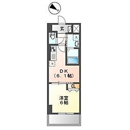 フローラ小石川 2階1DKの間取り