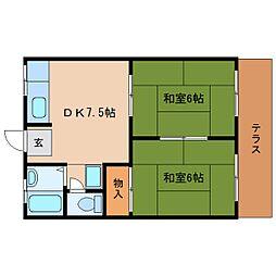 静岡県静岡市清水区駒越南町の賃貸アパートの間取り