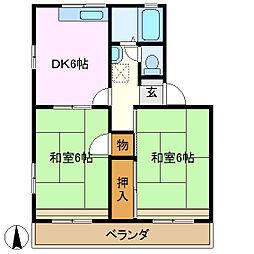 あけぼのハイツ B棟[2階]の間取り