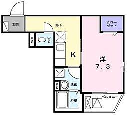 東京メトロ南北線 志茂駅 徒歩2分の賃貸マンション 2階1Kの間取り