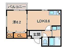 フジパレス和歌山南III番館 2階1LDKの間取り