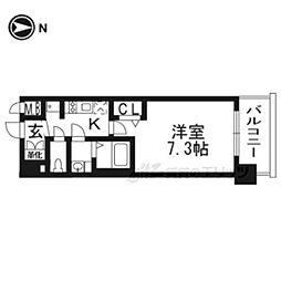 京都市営烏丸線 十条駅 徒歩3分の賃貸マンション 2階1Kの間取り