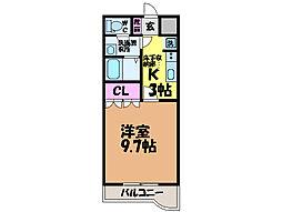 愛媛県東温市北方の賃貸アパートの間取り