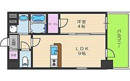 阪神本線 野田駅 徒歩5分の賃貸マンション 9階1LDKの間取り
