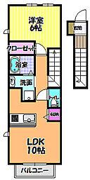 メロディーハウス2[2階]の間取り