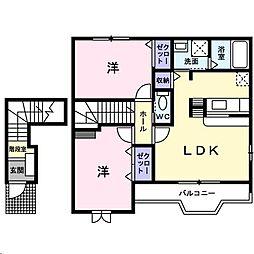 広島県福山市駅家町大字法成寺の賃貸アパートの間取り