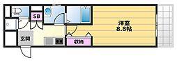 メゾン・プレアデス 4階1Kの間取り