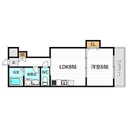 Osaka Metro谷町線 野江内代駅 徒歩5分の賃貸マンション 2階1LDKの間取り