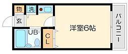 北大阪パークヴィラ 3階1Kの間取り