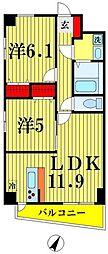 東武伊勢崎線 東向島駅 徒歩7分の賃貸マンション 5階2LDKの間取り