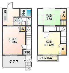大阪府八尾市太田3丁目の賃貸アパートの間取り