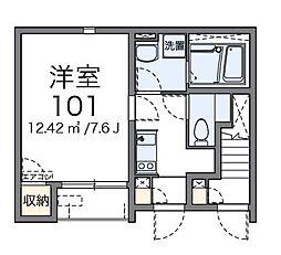 京王線 南平駅 徒歩9分の賃貸アパート 1階1Kの間取り