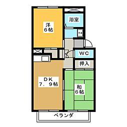プレジールイイヌマ[1階]の間取り