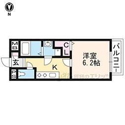京阪本線 鳥羽街道駅 徒歩2分の賃貸アパート 1階1Kの間取り