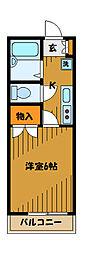 東京都小金井市中町3丁目の賃貸アパートの間取り