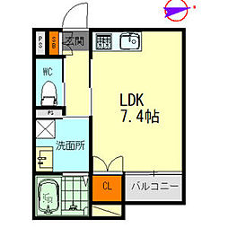 メゾンソレイユ名駅西 3階1Kの間取り