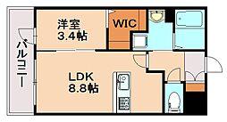 JR鹿児島本線 春日駅 徒歩3分の賃貸マンション 3階1LDKの間取り