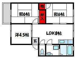 コーポハッピー[2階]の間取り