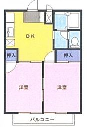 埼玉県川越市大字小ケ谷の賃貸アパートの間取り