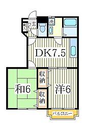 ヴォーヌングII[1階]の間取り
