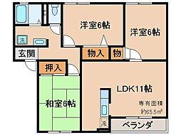 京都府京都市伏見区深草大亀谷安信町の賃貸アパートの間取り