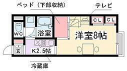 兵庫県伊丹市北伊丹1丁目の賃貸アパートの間取り