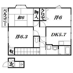 静岡県浜松市東区小池町の賃貸アパートの間取り