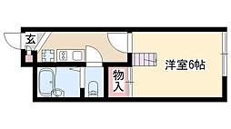 愛知県名古屋市瑞穂区春敲町4丁目の賃貸アパートの間取り