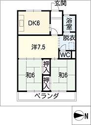 ラフォ−レ若竹[1階]の間取り