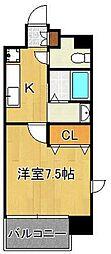 アクシオ小倉 13階1Kの間取り