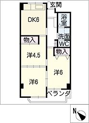 愛知県西尾市花ノ木町3丁目の賃貸マンションの間取り
