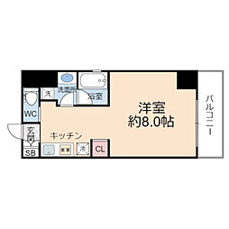 JO-KITA TERRACE 6階1Kの間取り