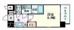 エスリード新大阪グランゲートサウス 8階1Kの間取り