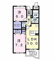 茨城県水戸市河和田2丁目の賃貸マンションの間取り