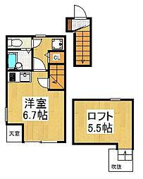 東京都三鷹市上連雀3丁目の賃貸アパートの間取り