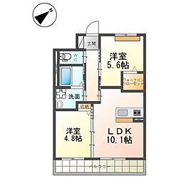 (仮)つくば市流星台新築マンション(ペット可) 2階2LDKの間取り