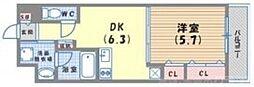 DAIWA RESIDENCE FUDANOTSUJI(ダイワレジデンス札辻) 6階1DKの間取り