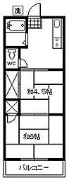 西調布コーポ[2階]の間取り