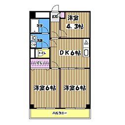 ローヤル国立マンション[3階]の間取り