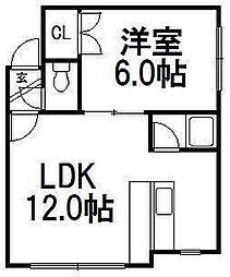 北海道札幌市西区八軒七条東2丁目の賃貸アパートの間取り