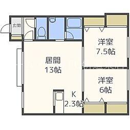 北海道札幌市東区北四十二条東6丁目の賃貸アパートの間取り