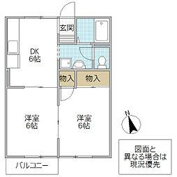 セジュール東台 D[105号室号室]の間取り