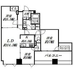 静岡県浜松市中区板屋町の賃貸マンションの間取り