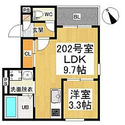 名鉄名古屋本線 山王駅 徒歩8分の賃貸アパート 2階1LDKの間取り