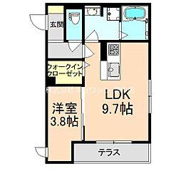 阪急宝塚本線 曽根駅 徒歩5分の賃貸アパート 1階1LDKの間取り