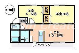 徳島県徳島市北田宮2丁目の賃貸マンションの間取り