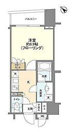 都営浅草線 東銀座駅 徒歩2分の賃貸マンション 7階1Kの間取り